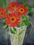 Red Daisies in Clear Vase - Barbara Williams